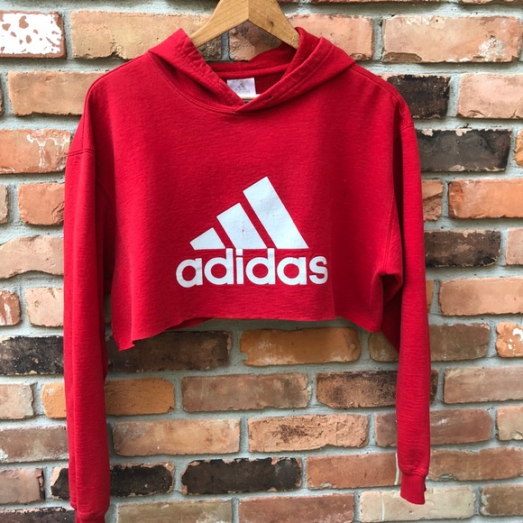 online shop good looking cheaper Adidas Cropped Hoodie / Red